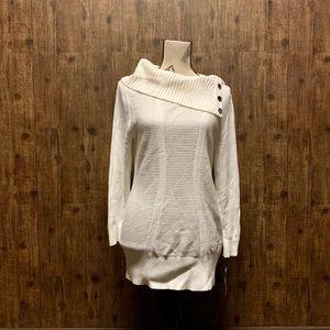 Button-Neck Tunic Sweater- BRAND NEW